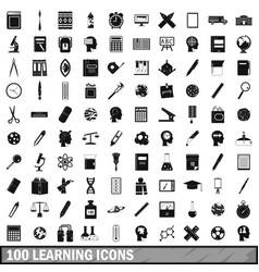 100 learning icons set simple style vector image vector image