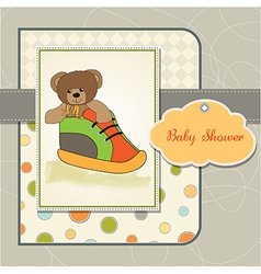 baby shower card with teddy bear hidden in a shoe vector image vector image