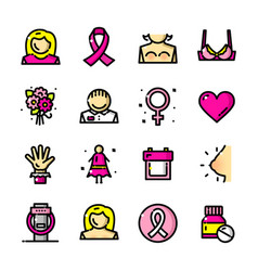 Breast cancer awareness month icons vector