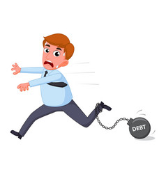 businessman cartoon carry debt financial vector image