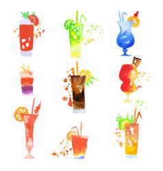 cocktails set summer drinks watercolor vector image