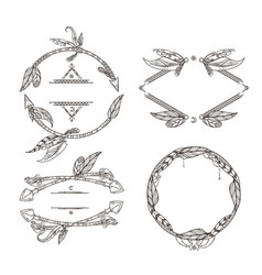 frames set of feathers arrows and other decorative vector image