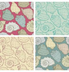 Hand drawing seashell seamless set vector image vector image