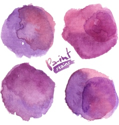 Purple watercolor painted stains set vector image vector image