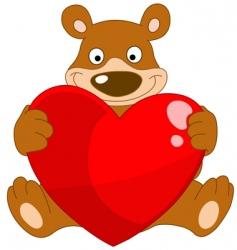 smiley bear valentine vector image