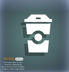 Breakfast coffee icon on the blue-green abstract vector