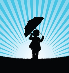 child with umbrella in nature vector image vector image