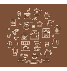 Coffee outline icons set vector image
