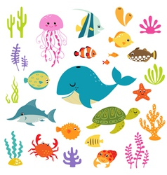 Cute underwater world vector image