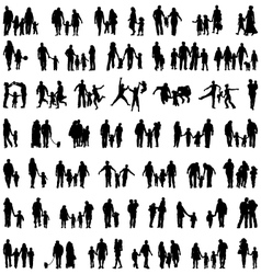 Silhouettes of families vector