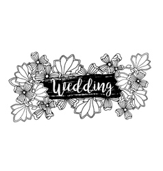 Wedding label design with inscription and doodle vector image vector image