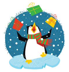 xmas penguin in a bright scarf standing on an ice vector image