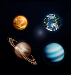A set of planets in space saturn earth venus vector