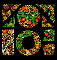floral decorative elements of traditional russian vector image