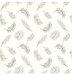 Hand drawn seamless leaves pattern vector image