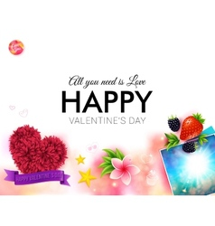 Happy tropical Valentines Day card design vector image