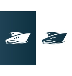 Business logo yacht floating on the waves modern vector image vector image