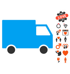 cargo van icon with love bonus vector image vector image