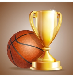 Golden trophy cup with a Basketball ball vector image vector image