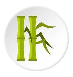 green bamboo stems icon circle vector image