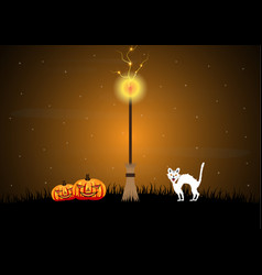 halloween witch broomstick graveyard pumpkin cat vector image vector image