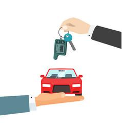 Hands giving car and car keys vector