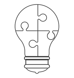 Lightbulb in puzzle pieces icon vector