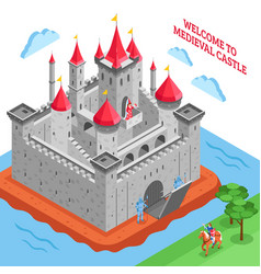 middle ages european royal castle composition vector image
