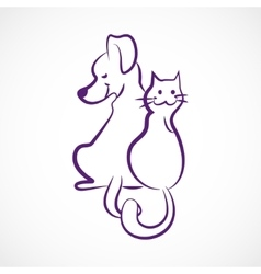 Sketchy cat and dog vector image vector image