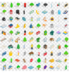 100 capital icons set isometric 3d style vector image