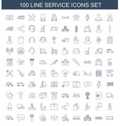 100 service icons vector image
