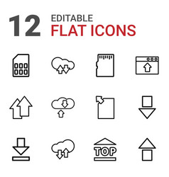 12 upload icons vector image