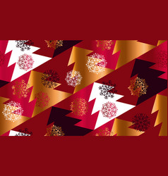 abstract geometric red xmas tree seamless pattern vector image