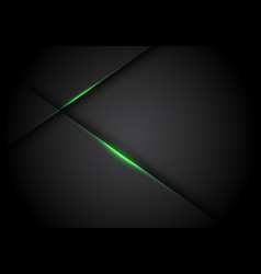 Abstract green light line cross shadow on black vector
