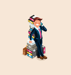 accountant and paper pile vector image