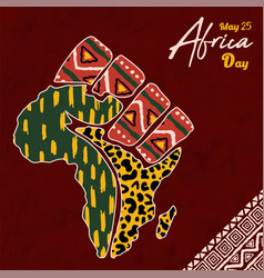 africa day tribal art people hand african map card vector image
