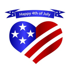 american independence day heart and banner vector image