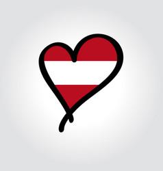 Austrian flag heart-shaped hand drawn logo vector