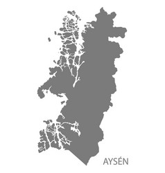 Aysen chile map grey vector