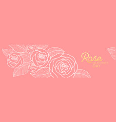 banner rose flower happy valentines day vector image