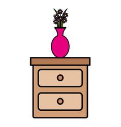 bedroom drawer with flower vase vector image