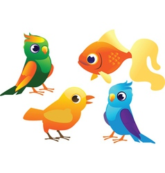 Birds and fish set vector