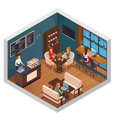 Bistro isometric interior composition vector