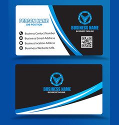 blue black business card template psd eps vector image