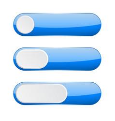 blue menu buttons web 3d icons vector image