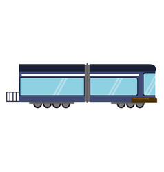 blue train rail passenger transport vector image