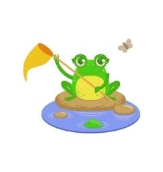 Cartoon frog character catchin flies vector