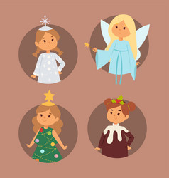 christmas carnival costume kids vector image