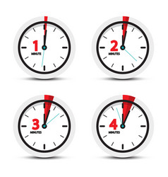 clock 1 2 3 4 minutes time icons vector image