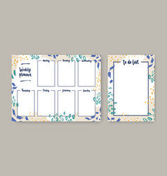 Collection weekly planner with weekdays and to vector